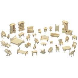Maisons de poupées de jouets en Ligne-Mini Maison De Poupée DIY Meubles Modèles Jigsaw Puzzle Maison De Poupée Woodcraft Kit De Construction Jouet Enfants Cadeaux 6 87ap C