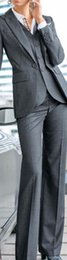 Wholesale Grey Bespoke Tuxedo - new Women Pant Suits Grey 3 Piece Formal Women Ladies Business Office Tuxedos Work Wear Suits Bespoke