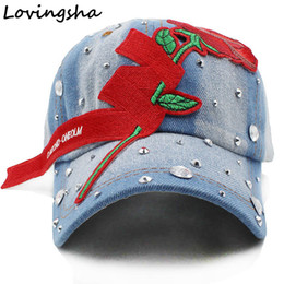 Lovingsha Denim Baseball Cap Spring Rhinestones Floral Cap Snapback Summer  For Girl Fitted Women Wholesale Cheap Hat rhinestones baseball caps for  women ... 142ea7670eac