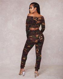 Camuflaje yoga pantalones mujeres online-Pullover Fashion Camouflage Print Women Casual Conjunto de 2 piezas Otoño Sexy Slash Neck Manga larga Tops cortos + Pantalones Conjunto de chándal Mujer