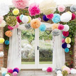 Fiori di carta ballo matrimonio online-Sfera di fiori di carta velina fatta a mano colorata Pom Poms Balls per la festa nuziale Decorazioni per la casa Forniture Fabbrica diretta 3 51hz9 XB