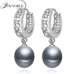 2020 красивая девушка серьга Beautiful Freshwater gray pearl earrings for women,wedding 925 sterling silver jewelry black natural pearl earrings girls gift дешево красивая девушка серьга