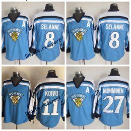 793563fa5 Hombres 11 SAKU KOIVU 1998 Equipo de Finlandia Olímpico Hockey Jersey 8  TEEMU SELANNE 27 TEPPO NUMMINEN Blue Finland Jerseys supplier koivu jersey