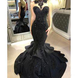 Wholesale lace dress sequin collar - Dubai Arabic Black Mermaid Prom Dresses 2018 Beads Sequined Ruffles Floor Length Lace Applique Formal Dresses Evening Wear PROM DRESSES