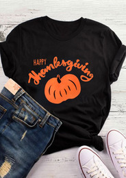 moda felice di ringraziamento Sconti T-shirt donna T-shirt Tee Happy Halloween Halloween T-shirt Happy Thanksgiving T-shirt arancione Tee Fashion Graphic Divertenti Top estetici