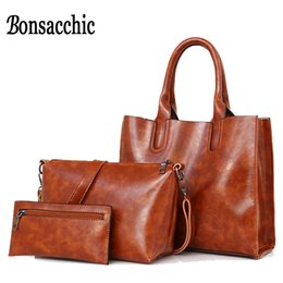 Wholesale women 3pcs casual - Bonsacchic 3pcs Leather Bags Handbags Women Famous Brand Shoulder Bag Female Casual Tote Women Messenger Bag Set Bolsas Feminina