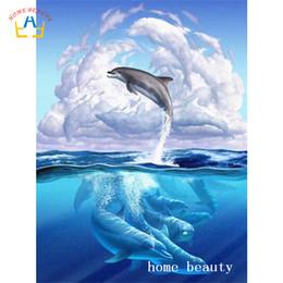 case del mediterraneo dipinti ad olio Sconti Quadri diamantati con delfini per ricamo a punto croce trapano diamantato per arredo soggiorno AC347