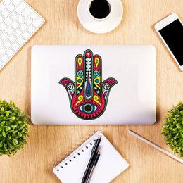 Wholesale Indian Wall Stickers - Hamsa Hand Fish Eye Wall Stickers For Computers Decor Indian Buddha Yoga Fatima OM Mandala Decals Removable PVC Laptop Stickers