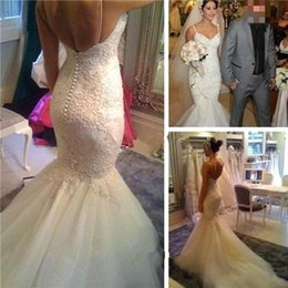 Wholesale Sweetheart Strapless Mermaid Wedding Dresses - Sexy Mermaid Wedding Dresses 2018 Backless Button Spaghetti Sweetheart Lace Appliqued Custom Made Vintage Bridal Gowns