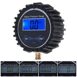 Wholesale Metal Tire Gauge - Portable ABS + Metal Precision Electronic Digital Car Tire Gauge Tyre Alarm Short Pressure Measuring Valve Blue Backlight Night Vision CE