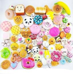 charmes de fruits mélangés Promotion 20pcs Kawaii Squishies fruits Bun Toast Donut Pain pour téléphone portable Sac Charm Bretelles porte-clés mélangé Squishy longe montante parfumée