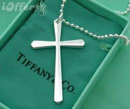 Canada Bijoux de marque de mode designer tiffany925 Sterling Silver Sparkling 925 argent Christian collier pendentif croix style avec boîte VENTE Offre