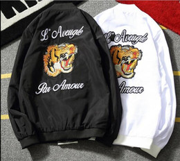 Wholesale White Mandarin Jacket - Wholesale- Embroidery Tiger Head Men Jacket 2017 New Fashion Spring Autumn Plus Size 5XL Mandarin Collar mens jackets and coats Black White