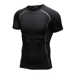 Wholesale Fast Workouts - Compression Muscle Men's Short Sleeves Cool Quick Dry T Shirt Breathable Fast Absorb Sweat Workout Tops Shirts for RUnning GYM