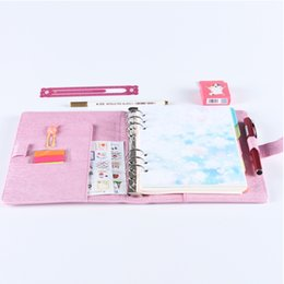 Wholesale School Notebook A5 - Cute macaron PU leather spiral notebooks,office school personal binder Agenda Organizer Diary Weekly Planner stationery A5 A6