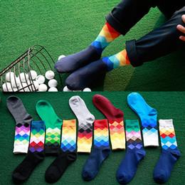 Wholesale Mens Fashion Socks Wholesale - 24pcs=12pairs 12 designer High Quality Brand Happy socks British Style Plaid Socks Gradient Color mens Fashion Personality Cotton Socks