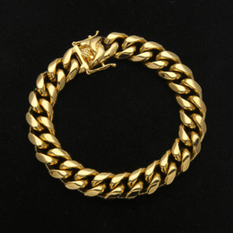 Wholesale 8mm bracelets - Luxury Mens Stainless Steel Bracelet Link Chains Width 8mm 10mm 12mm 14mm 23cm Yellow Gold Plated Steel Cuban Bracelet for Men Hip Hop