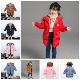 74c0b8ebd Kids Hooded Down Jacket Down Coat Winter Warm Long Styles Outerwear Solid  Children Designer Fashion Loose Clothes GGA1288