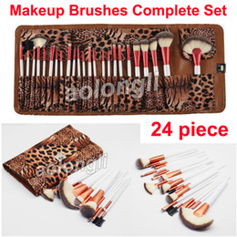 Wholesale powder eyeliner pencil - 24 Piece Makeup Brushes Leopard Brush Complete Set Face and Eye Brushes kit Eyeshadow Eyeliner Pencil Makeup Powder Foundation Brush