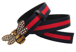 Wholesale western women belts - Western fashion jeans women canvas leather strap bee buckle lady cowskin leather bee belt