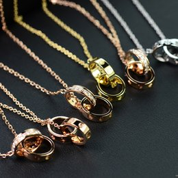 Wholesale double chain circle gold necklace - 2 ring pendant necklace France LOVE double ring diamond necklace endless love Woman wedding circle necklace Classic logo Wedding day chain