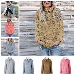 2019 camisola de gola alta de lã Sherpa Pullover Mulheres Hoodies Outono Manga Longa Gola Natural Camisolas de Lã camisola Com Zíper Macio Casuais Casa Roupas GGA1240 desconto camisola de gola alta de lã