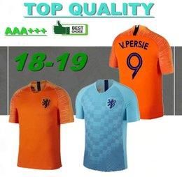 Camisa de futebol laranja on-line-Qualidade thai 2018 camisa de futebol holandês home orange holanda time nacional JERSEY memphis SNEIJDER 18 19 V.Persie holandês camisas de futebol
