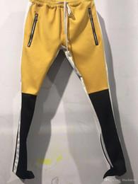 Nuevo Color azul amarillo Miedo a Dios Quinta colección VOZ Justin Bieber lateral Cremallera Pantalones de chándal ocasionales Hombres Hiphop Jogger Pantalones 3 estilo S-XXL desde fabricantes
