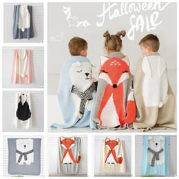 Mantas de bebé de ganchillo online-11 diseño ins manta bebé tejer conejo de lana zorro oso manta animal sofá de ganchillo playa edredón manta de viaje de viaje manta KKA5989