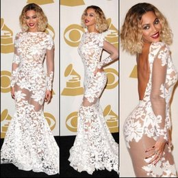 Wholesale Grammy Evening Gowns - Beyonce Grammy Awards Lace Sheer Celebrity Dresses Long Sleeve Backless Mermaid Evening Dresses Women Pageant Gowns Prom Dresses HS7461