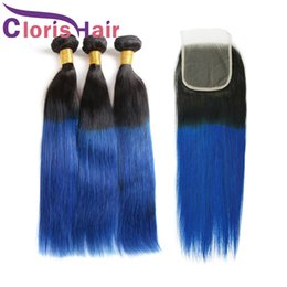 Wholesale Highlighted Extensions - Highlight Blue Straight Ombre Human Hair Weaves 3 Bundles With Lace Closure Raw Indian Brazilian Virgin Hair Extensions Dark Root 1B Blue