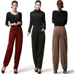 Новые женщины осень зима вельветовые брюки с высокой талией широкие штаны вельветовые брюки большие ярды от