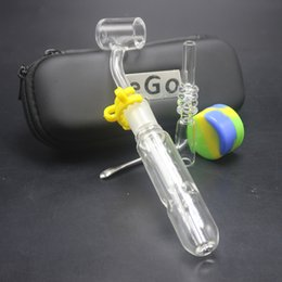 encendedores de pistola Rebajas Conjunto de bolsas de regalo Nector Collector Tubo de vidrio con filtro claro 10mm 14mm 18mm Punta de cuarzo Cuarzo Banger Glass Spillproof Bubbler Dab Rig