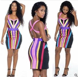 Wholesale womens fashion harness - 2018 summer womens dress Sexy backless color striped print harness hip skirt Fashion casual nightclub clothing Sexy dress
