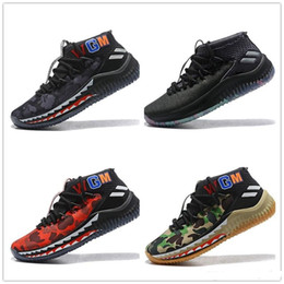 boîtes à étoiles Promotion Homme Consortium x Dame Lillard 4 Chaussure de basket-ball campe verte avec toutes les étoiles: Baskets Damian Lillard