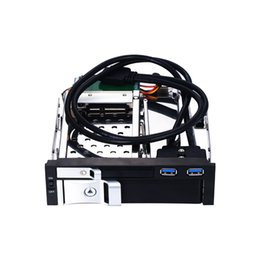 Wholesale Usb Sata Port - 5.25 inch SATA internal hdd mobile rack with two USB3.0 port with hot-swap enclosure for 5.25 optical pc bay trayless