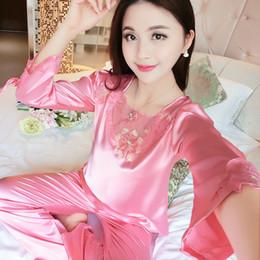 Pijama Litmon Conjuntos Pijamas Mulheres Verão Completo Sólidos Ruffle Manga Bordado Pijamas De Seda Elegante Sleepwear Mulheres de Fornecedores de jaquetas de pedra