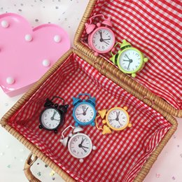 Wholesale Mini Table Clocks - Mini Candy Color Metal Alarm Clocks Table Desktop Dial Needle Clocks Function Cute Pocket Watches Portable Kitchen Clock