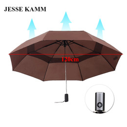 Wholesale Umbrella Shopping - JESSE KAMM New Design Fully Automatic Umbrellas Strong Windproof Big Large For Two Three People Pongee Drop shopping Fashion