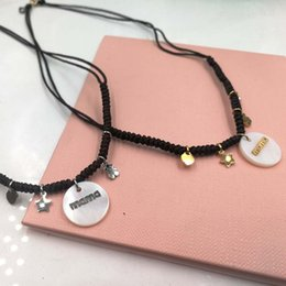Wholesale Woven Pendant - 2018 New Design MAMA Letter Charms woven macrame choker 40cm, fish bone knot braid pearl shell charms necklace El oso de collar