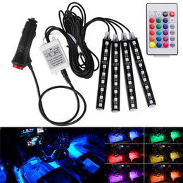 Luci per auto interne online-Universal Wireless Remote Control Car RGB 9 LED Neon interni Light Strip Strip Decorative Atmosphere Lights Car Styling 7 colori