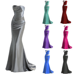 Wholesale strapless mermaids bridesmaid dress - Beading Strapless Lace Up Mermaid Bridesmaid Dresses 2018 Cheap Long Maid of Honor Evening Prom Gowns