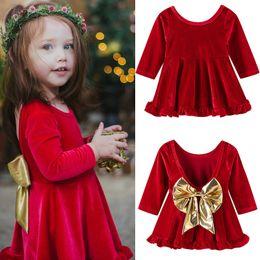 Красное рождественское платье для девочки онлайн-Baby Girl Red Backless Dress для Рождества Xmas младенческой с длинным рукавом бантом Dress Baby Girl Party Princess Dresses Clothing