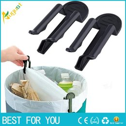 Wholesale waste bin plastic - New Hot 10pcs lot Practical Trash Can Clamp Plastic Garbage Bag Clip Fixed Waste Bin Bag Holder Rubbish Clip