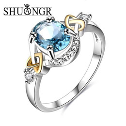 Wholesale Oval Vintage Ring - whole saleSHUANGR Charm Multicolor Oval Zircon Blue Green Big Crystal Rings For Women Vintage Fashion Silver Birthstone Ring Free Shipping