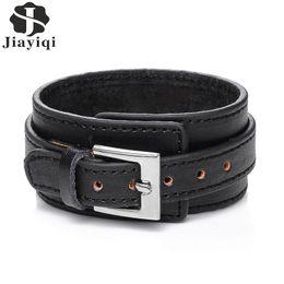 Wholesale Wholesale Adjustable Leather Bracelets Buckle - Jiayiqi 2017 Punk Genuine Leather Bracelet Men Vintage Wide Cuff Bangles Adjustable Buckle Wristband Male Jewelry Black & Brown
