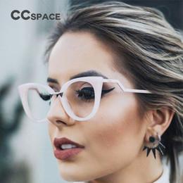 Wholesale Eye Glasses Temple - CCSPACE Lady Cat Eye Glasses Frames For Women Brand Designer Optical EyeGlasses Metal Temple Fashion Eyewear 45045