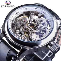 horloge à main noire Promotion Forsining Transparent Montre Mode Argent Squelette Horloge Mécanique Montres pour Hommes Mains Lumineuses Noir En Cuir Véritable