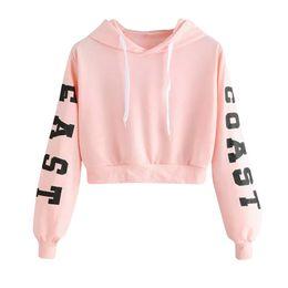 Wholesale Felpa Felpa con cappuccio Feihirt Felpa con cappuccio maniche lunghe da donna Lettere rosa Blusa Pullover Top femminile Felpa con cappuccio Feminino Moletom
