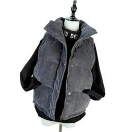 Corti corti online-Nuovo inverno moda donna spessa cappotto cappotto caldo breve mandarino collare gilet velluto a coste giacca di cotone gilet donna parka Mw074